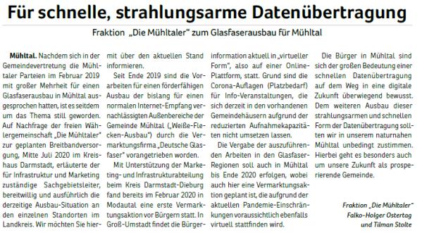 2020-08_Fraktion Die Mühltaler zum Glasfaserausbau für Mühltal