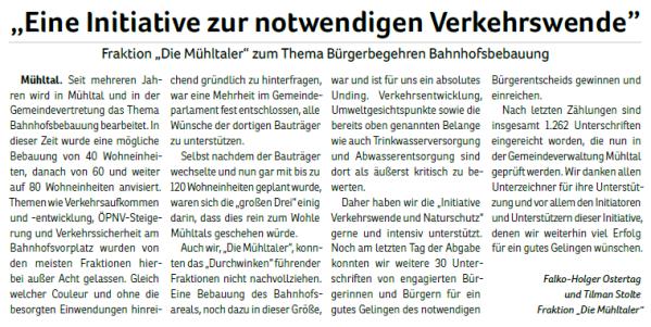 2020-08_Fraktion Die Mühltaler zum Thema Bürgerbegehren Bahnhofsbebauung