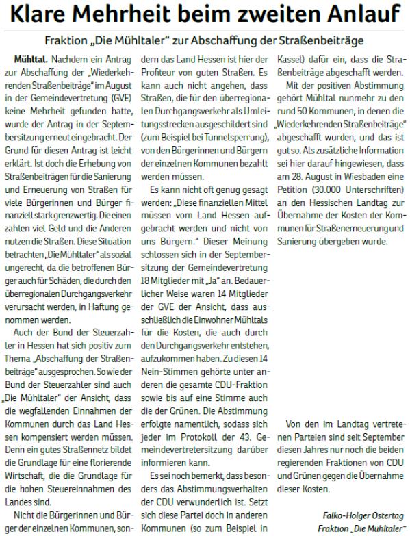 2019-11_Fraktion Die Mühltaler zur Abschaffung der Straßenbeiträge